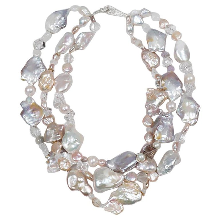 Sunshine on My Shoulder: Three-Strand Matinee Necklace-Pearls Gems Silver For Sale