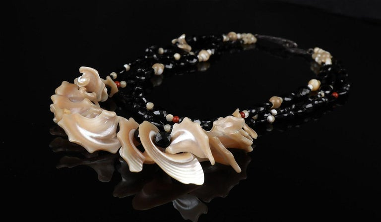 White Orchid Studio Bib Necklace Black Spinel Mother of Pearl Red Jasper Silver In New Condition For Sale In Athens, GA