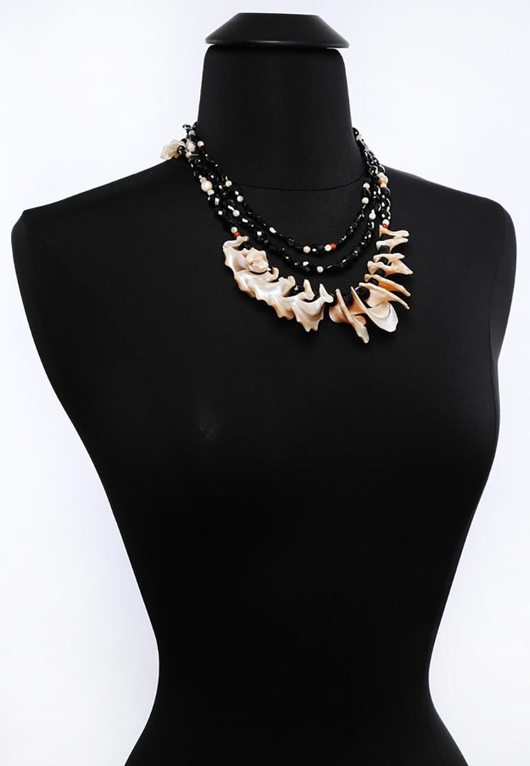 White Orchid Studio Bib Necklace Black Spinel Mother of Pearl Red Jasper Silver For Sale 1