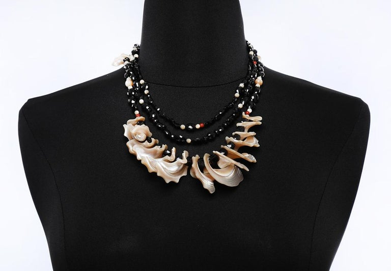 White Orchid Studio Bib Necklace Black Spinel Mother of Pearl Red Jasper Silver For Sale 2