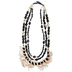 White Orchid Studio Bib Necklace Black Spinel Mother of Pearl Red Jasper Silver