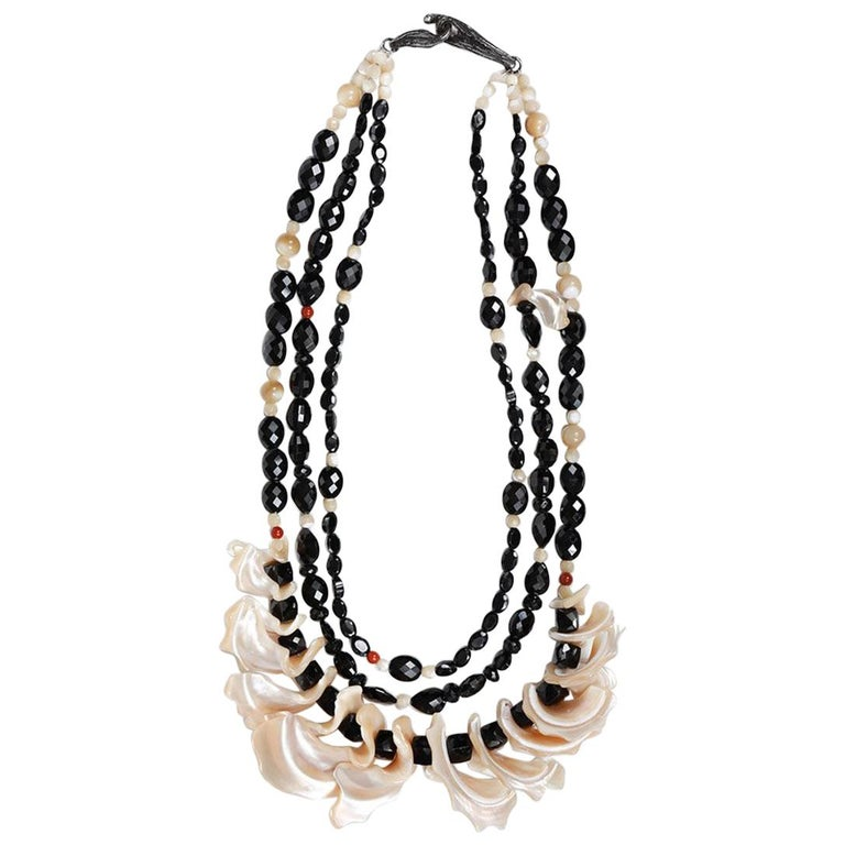 White Orchid Studio Bib Necklace Black Spinel Mother of Pearl Red Jasper Silver For Sale