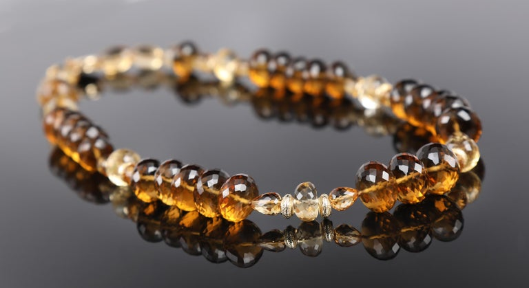 Scotch or Rum? Princess Necklace-Whiskey Quartz Citrine Gold In New Condition For Sale In Athens, GA