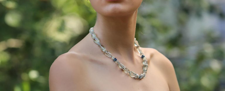 Women's or Men's White Orchid Studio Necklace Faceted Prasiolite Kyanite Ceylon Moonstone Silver For Sale