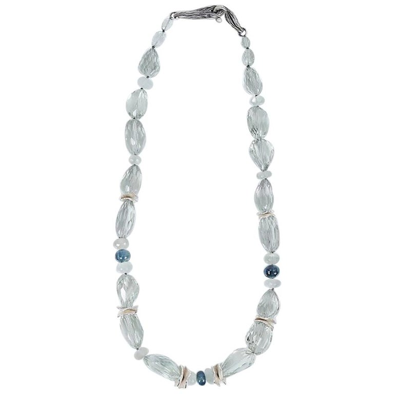 White Orchid Studio Necklace Faceted Prasiolite Kyanite Ceylon Moonstone Silver For Sale
