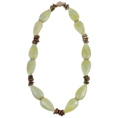 White Orchid Studio Glistening Moss 2 Jade Pearls Gold Necklace