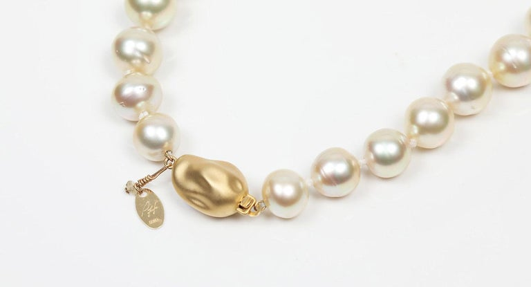 Contemporary Fire and Ice: Matinee Necklace-Golden South Sea Pearls Sapphires Gold For Sale