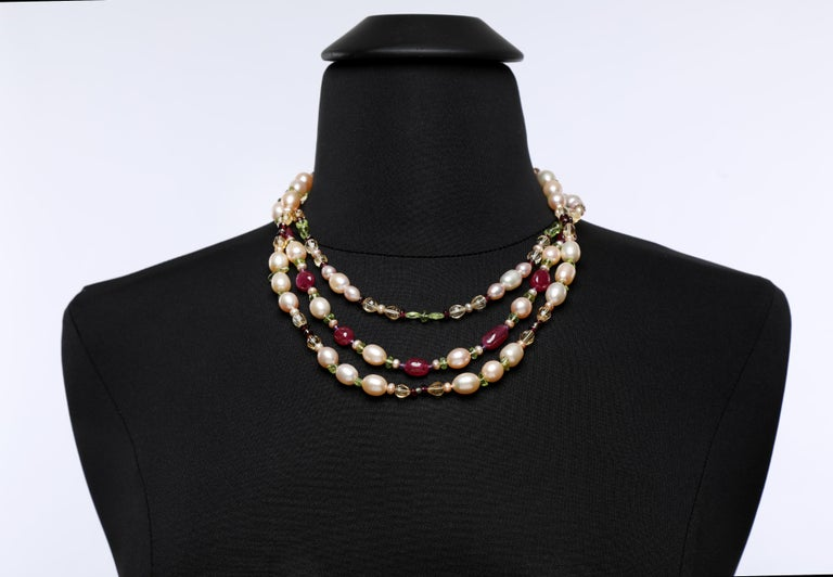 White Orchid Studio Necklace Pearls  Rubies Citrine Peridot Amethyst Gold  For Sale 3