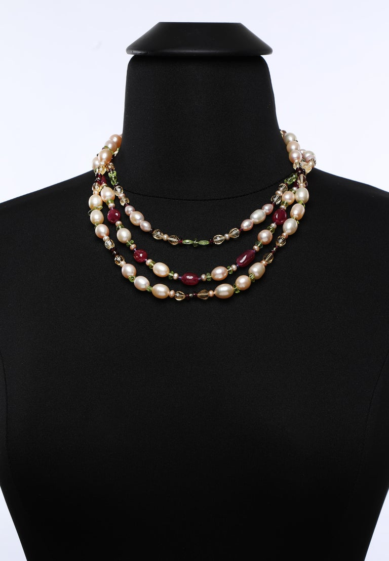 White Orchid Studio Necklace Pearls  Rubies Citrine Peridot Amethyst Gold  For Sale 5