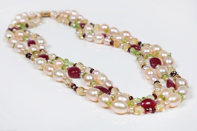 Women's Dreaming of Tartans: Three-Strand Matinee Necklace-Pearls Rubies Garnet Citrine  For Sale