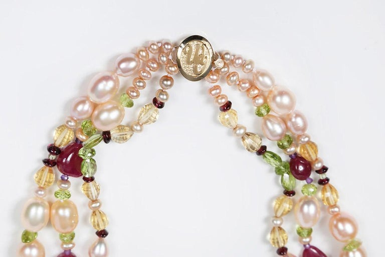 Dreaming of Tartans: Three-Strand Matinee Necklace-Pearls Rubies Garnet Citrine  For Sale 2