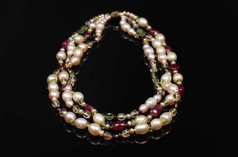 Women's White Orchid Studio Necklace Pearls  Rubies Citrine Peridot Amethyst Gold  For Sale