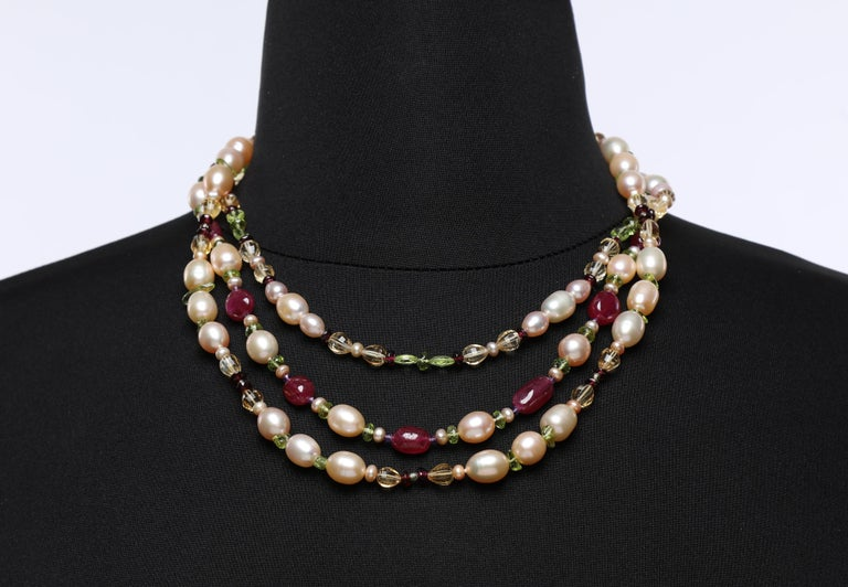 Dreaming of Tartans: Three-Strand Matinee Necklace-Pearls Rubies Garnet Citrine  For Sale 3