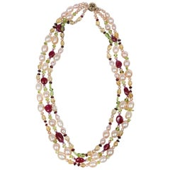 White Orchid Studio Beaded Necklace Pearls Rubies Citrine Peridot Amethyst Gold
