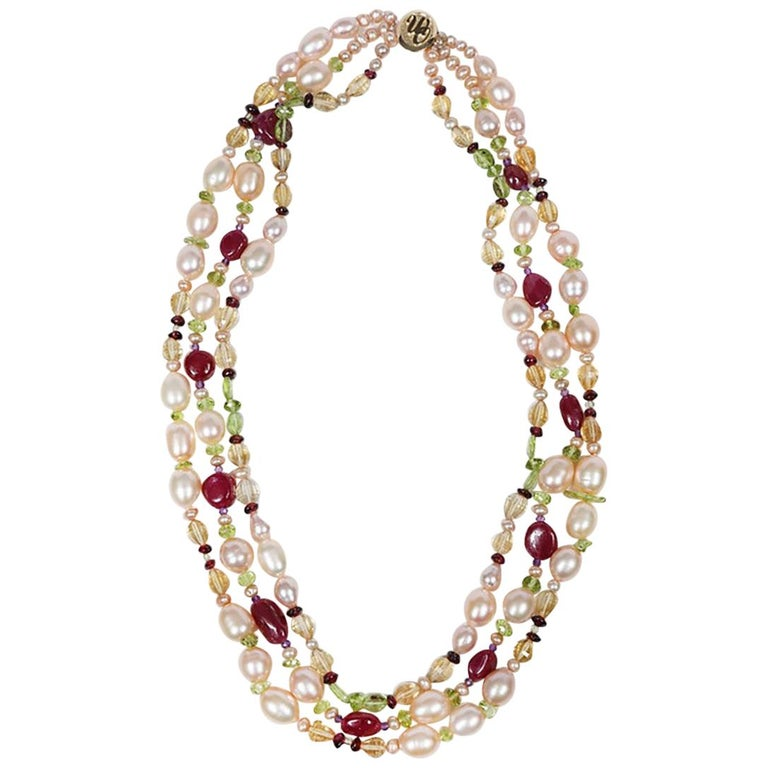Dreaming of Tartans: Three-Strand Matinee Necklace-Pearls Rubies Garnet Citrine  For Sale