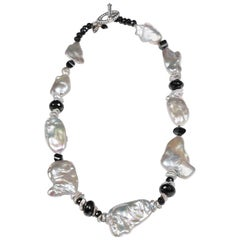 White Orchid Studio Pearl Necklace of Black Spinel and White Gold
