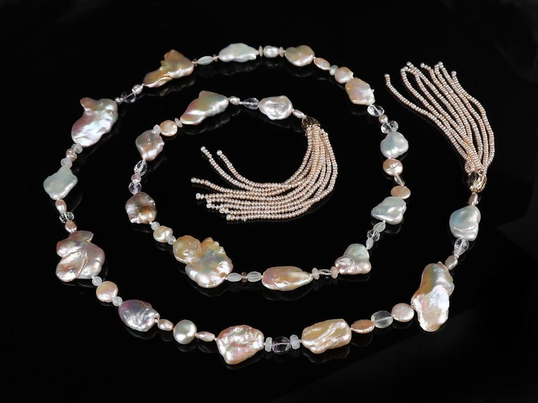 Contemporary White Orchid Studio Sartoir Pearls Amethyst Oregon Sunstone Moonstone  For Sale