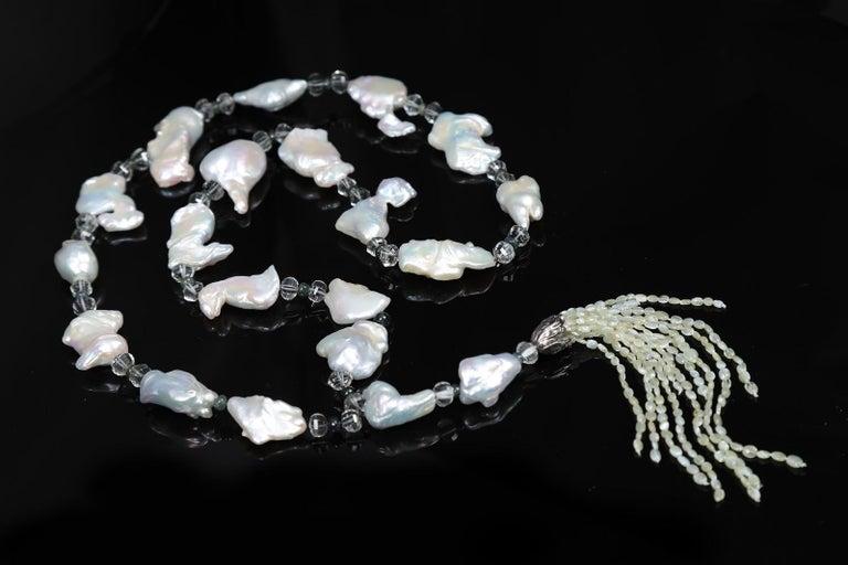 Contemporary White Orchid Studio Sartoir Pearls Prasiolite Sapphires Cat's Eye Chrysoberyl  For Sale