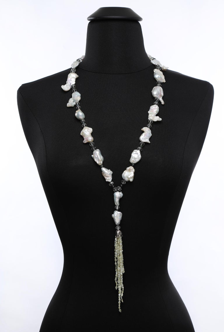 Women's White Orchid Studio Sartoir Pearls Prasiolite Sapphires Cat's Eye Chrysoberyl  For Sale