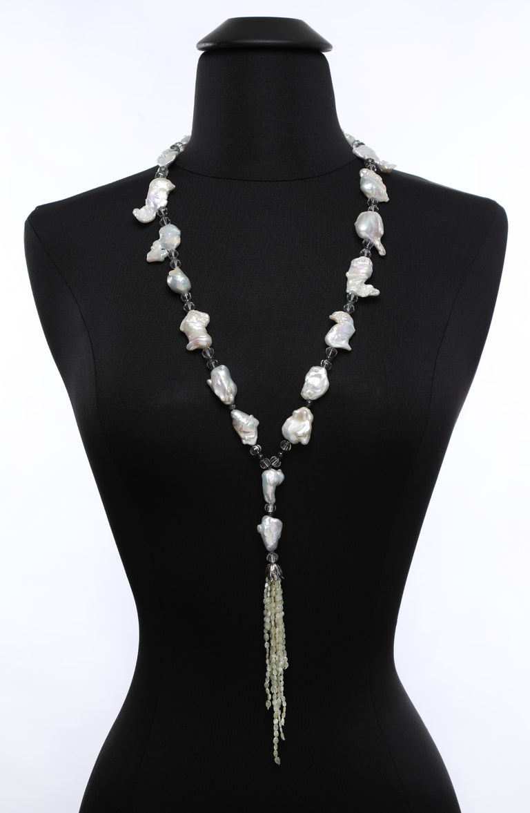 Women's Beautiful Cat's Eyes: Tassel Sautoir Necklace-Pearls Prasiolite Sapphires For Sale