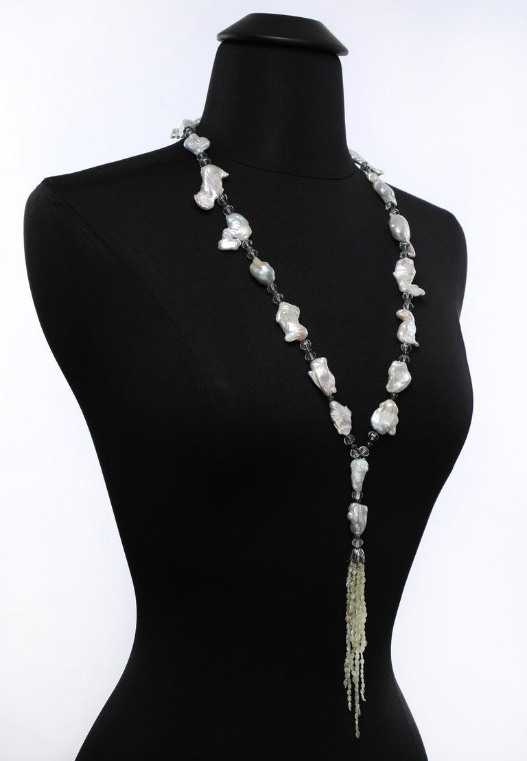Beautiful Cat's Eyes: Tassel Sautoir Necklace-Pearls Prasiolite Sapphires For Sale 1