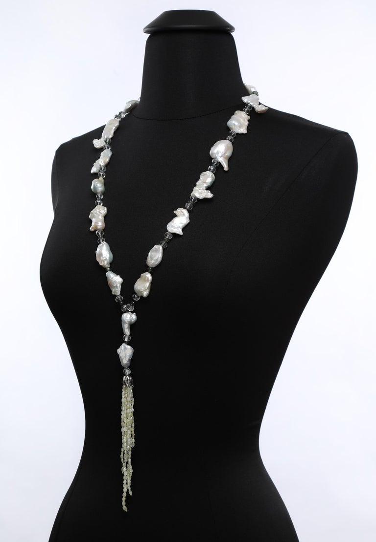 White Orchid Studio Sartoir Pearls Prasiolite Sapphires Cat's Eye Chrysoberyl  For Sale 3