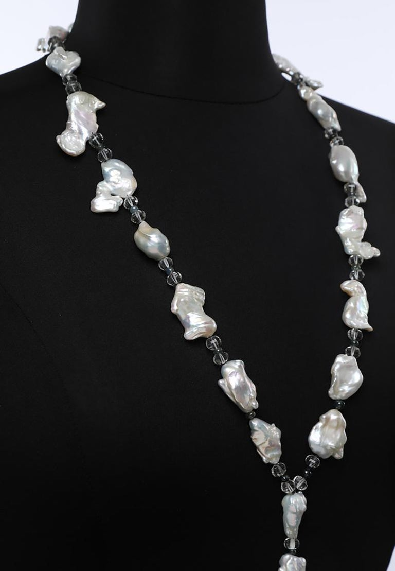 White Orchid Studio Sartoir Pearls Prasiolite Sapphires Cat's Eye Chrysoberyl  For Sale 1