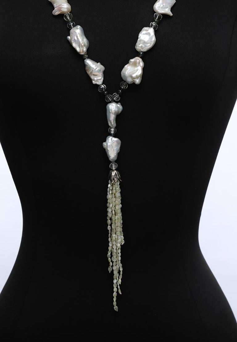 White Orchid Studio Sartoir Pearls Prasiolite Sapphires Cat's Eye Chrysoberyl  For Sale 4