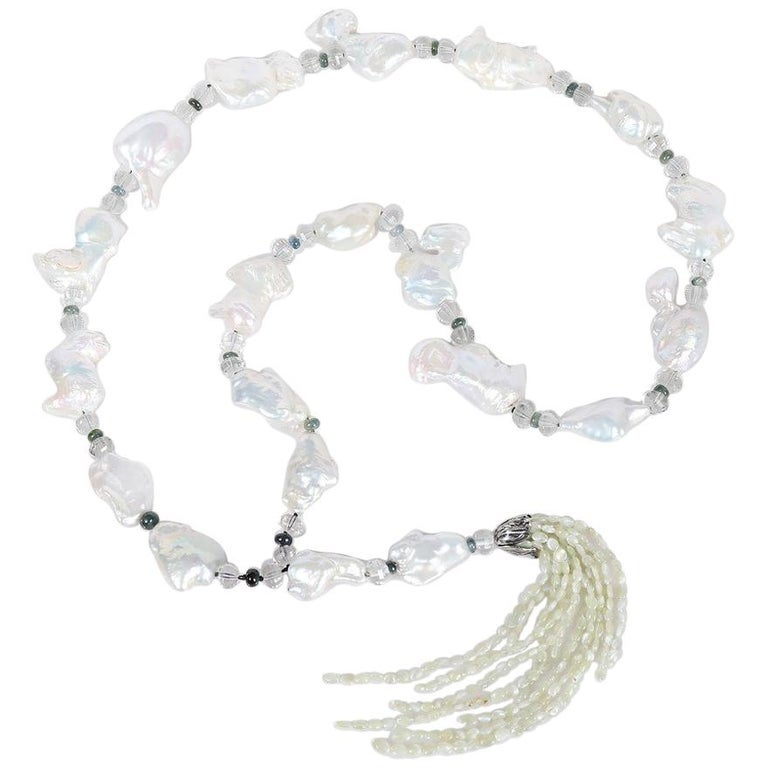 White Orchid Studio Sartoir Pearls Prasiolite Sapphires Cat's Eye Chrysoberyl  For Sale