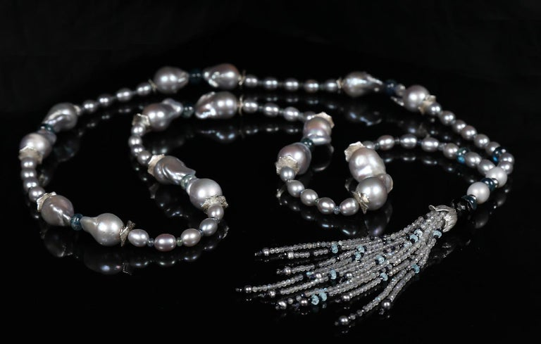 Contemporary White Orchid Studio Sartoir Pearls Sapphire Topaz Kyanite Labradorite Silver  For Sale