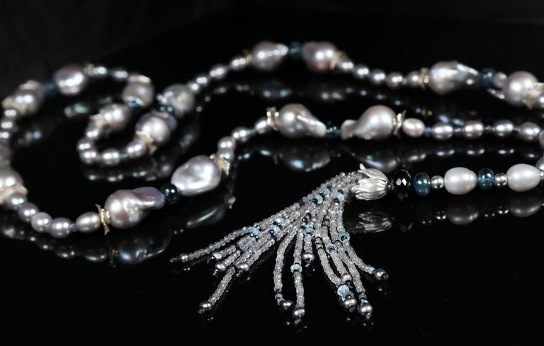 White Orchid Studio Sartoir Pearls Sapphire Topaz Kyanite Labradorite Silver  In New Condition For Sale In Athens, GA