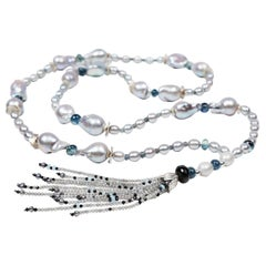 Hello Gorgeous: Tassel Sautoir Necklace-Pearl Kyanite Sapphires