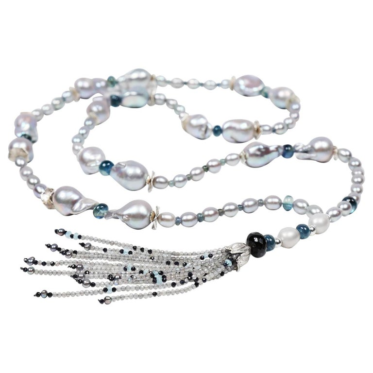 White Orchid Studio Sartoir Pearls Sapphire Topaz Kyanite Labradorite Silver  For Sale