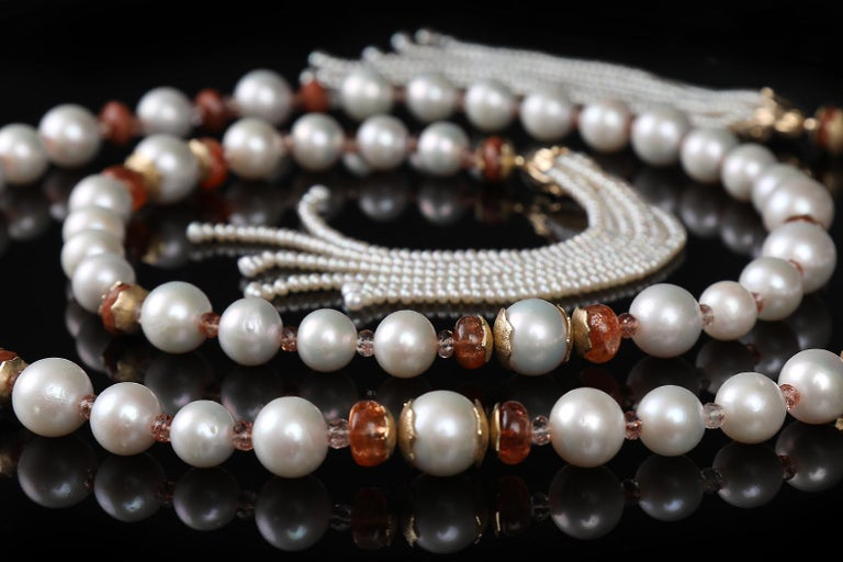 Contemporary White Orchid Studio Sartoir Pearls Sunstone Goldstone Yellow Gold  For Sale