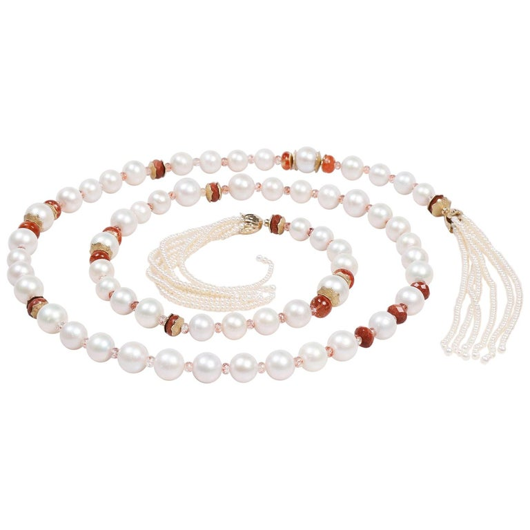White Orchid Studio Sartoir Pearls Sunstone Goldstone Yellow Gold  For Sale