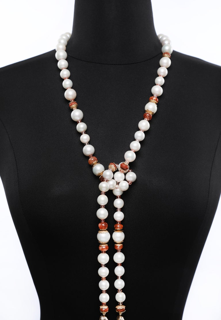 White Orchid Studio Sartoir Pearls Sunstone Goldstone Yellow Gold  For Sale 1