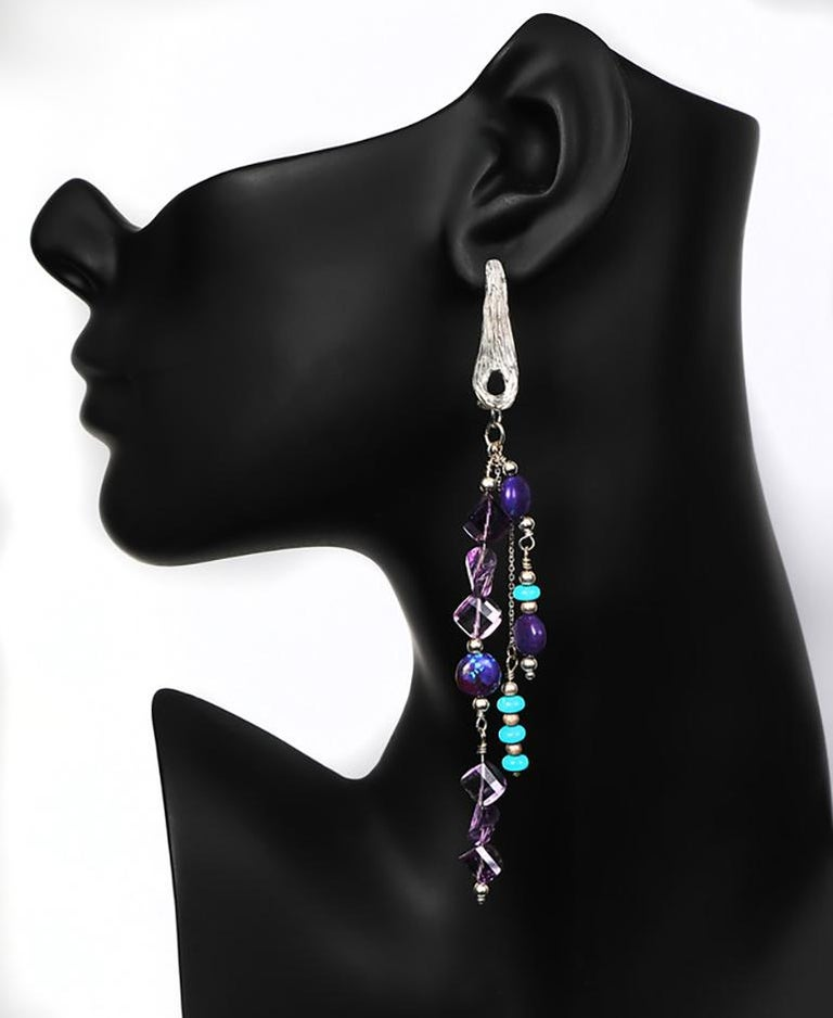 White Orchid Studio silver chandelier earrings of turquoise and amethyst In New Condition For Sale In Athens, GA