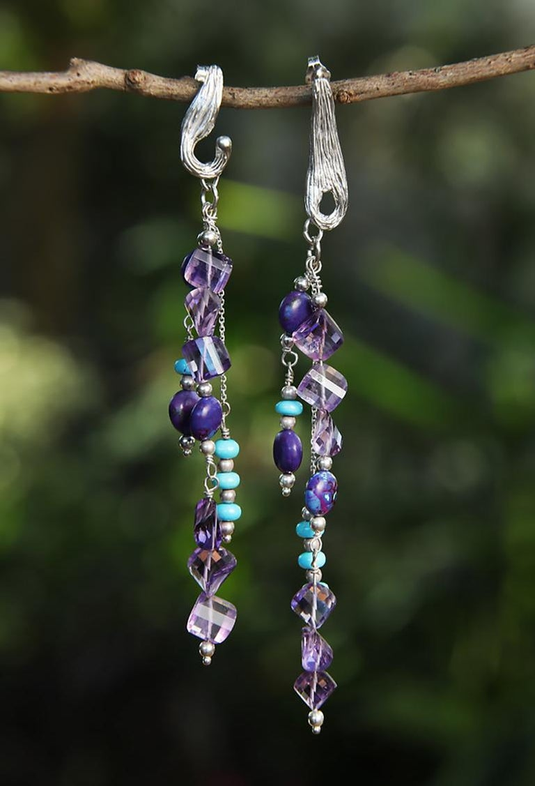 Women's White Orchid Studio silver chandelier earrings of turquoise and amethyst For Sale