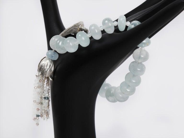 White Orchid Studio Beaded Tassel Bracelet Aqua Moonstone Topaz Silver For Sale 1