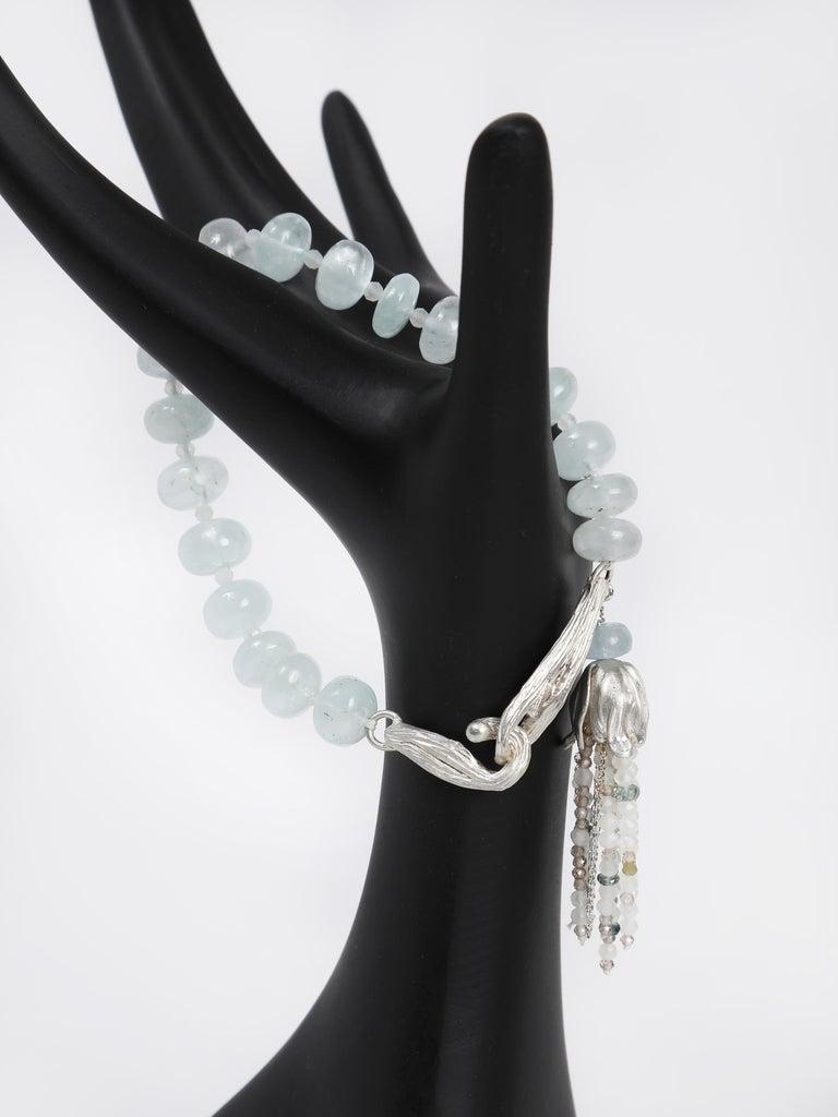 White Orchid Studio Beaded Tassel Bracelet Aqua Moonstone Topaz Silver For Sale 2