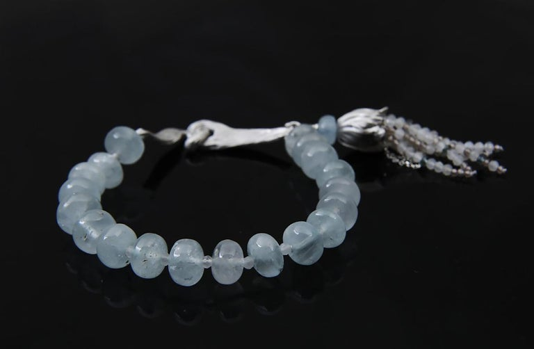 White Orchid Studio Beaded Tassel Bracelet Aqua Moonstone Topaz Silver In New Condition For Sale In Athens, GA