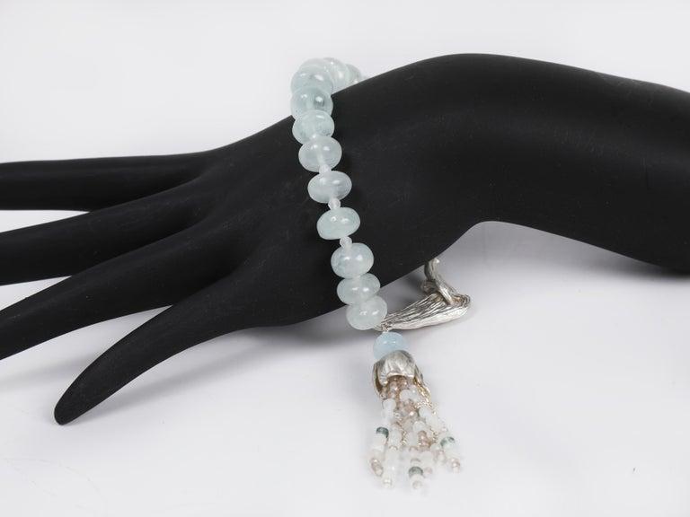 Women's White Orchid Studio Beaded Tassel Bracelet Aqua Moonstone Topaz Silver For Sale