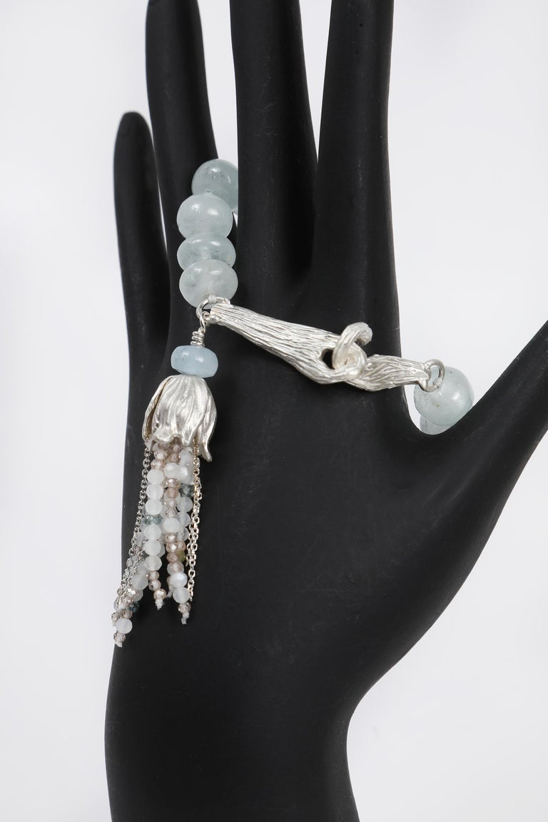 White Orchid Studio Beaded Tassel Bracelet Aqua Moonstone Topaz Silver For Sale 3