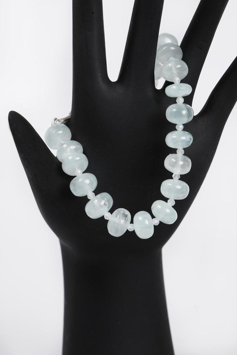 White Orchid Studio Beaded Tassel Bracelet Aqua Moonstone Topaz Silver For Sale 4