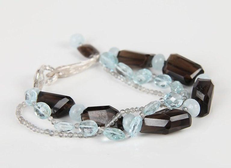 White Orchid Studio Tassel Bracelet Aqua Smoky Quartz Labradorite  In New Condition For Sale In Athens, GA