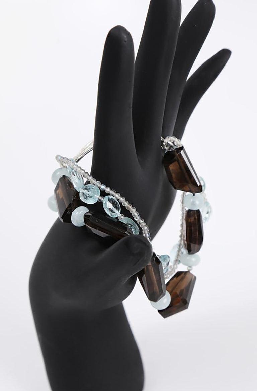 White Orchid Studio Tassel Bracelet Aqua Smoky Quartz Labradorite  For Sale 1