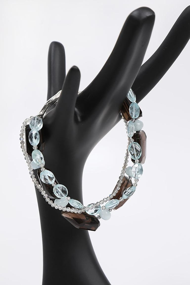 White Orchid Studio Tassel Bracelet Aqua Smoky Quartz Labradorite  For Sale 2