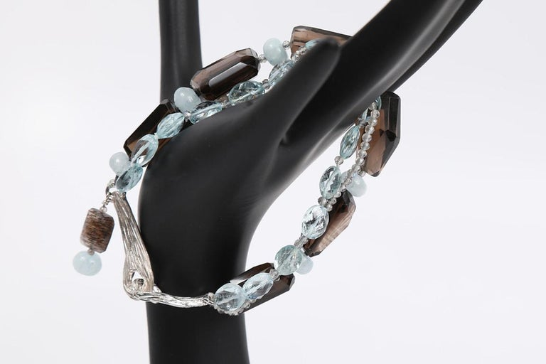 White Orchid Studio Tassel Bracelet Aqua Smoky Quartz Labradorite  For Sale 3