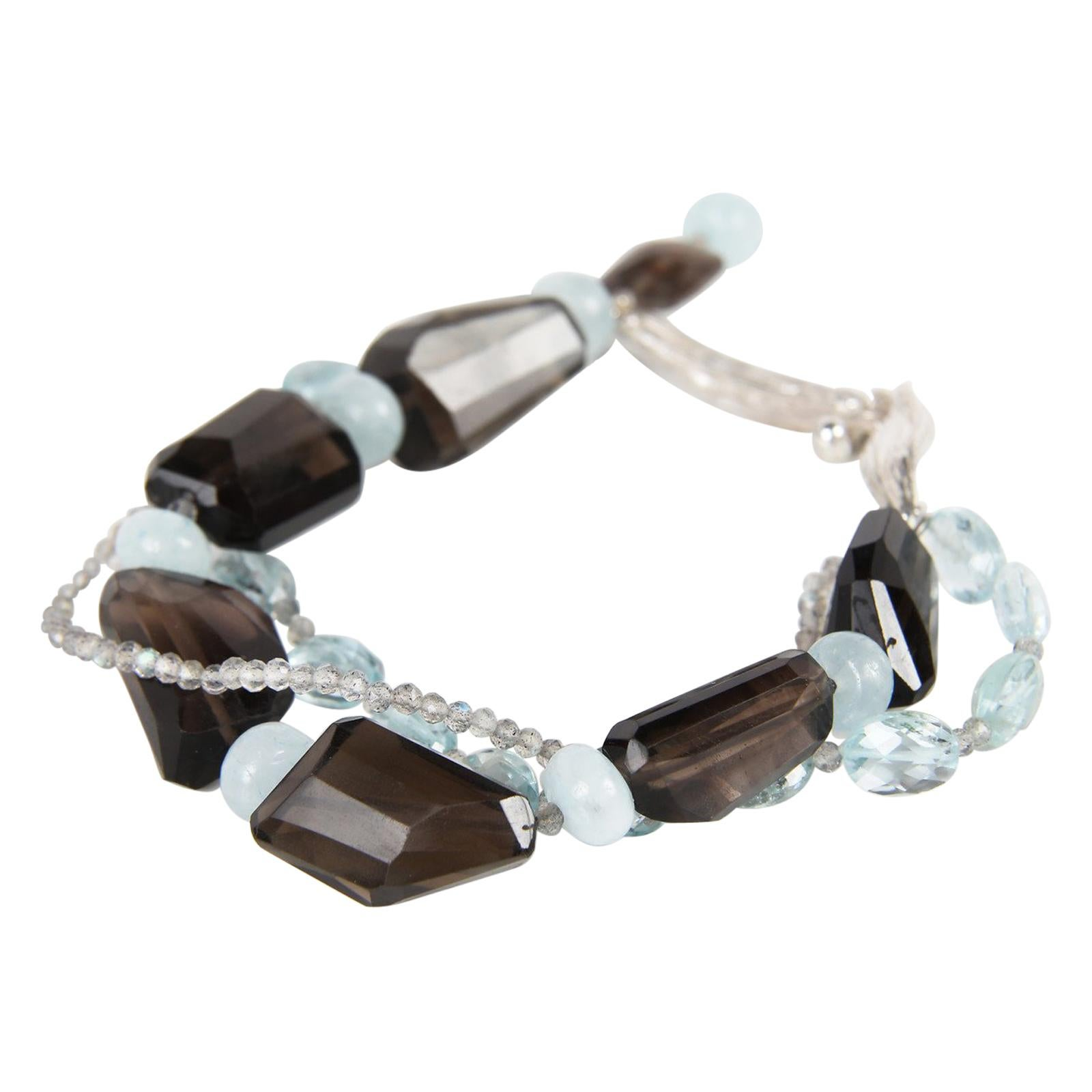 White Orchid Studio Misty Evening 1 Smoky Quartz Aquamarine Silver Bracelet