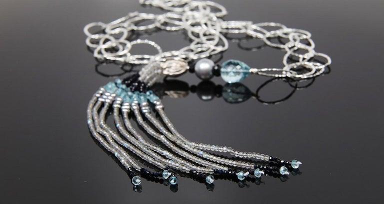 Contemporary White Orchid Studio Tassel Necklace Silver Sapphire Pearl Labradorite For Sale